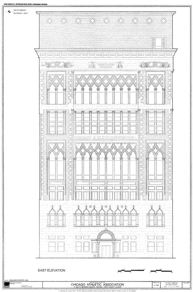 Chicago Athletic Association Hotel Exterior Blue Print